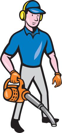 muffs: Illustrazione di stile del fumetto di maschio giardiniere paesaggista piedi in possesso di soffiatore impostato su sfondo bianco. Vettoriali