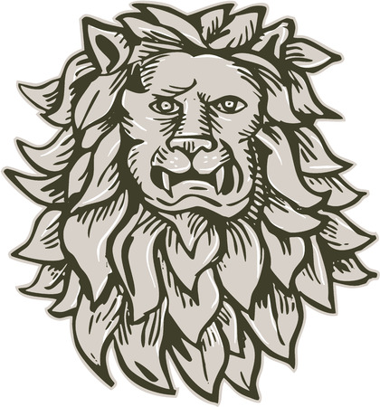 scratch board: Etching engraving handmade style illustration of an angry lion big cat head with flowing mane viewed from front set on isolated white background.