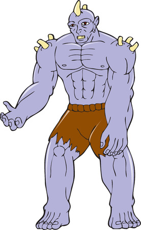 malevolent: Cartoon style illustration of an goblin orc warrior with horns on head viewed from front on isolated background.