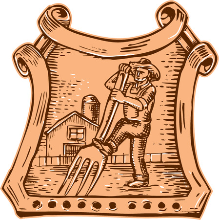 Etching engraving handmade style illustration of male organic farmer gardener landscaper horticulturist using a instead of a pitchfork to shovel or dig with barn house in background showing concept of Farm to Market set inside crest. Vector