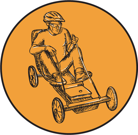 handmade soap: Etching engraving handmade style illustration of male rider riding soapbox car racing viewed from front set inside circle on isolated background.