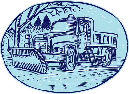 plow: Etching engraving handmade style illustration of a snow plow truck set inside oval with pine trees in the background. Illustration