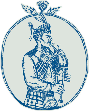 bagpipes: Etching engraving handmade style illustration of a scotsman bagpiper playing bagpipes viewed from side set inside oval shape with thistle on top on isolated background.