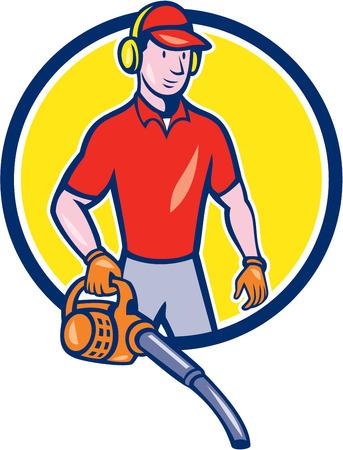 muffs: Illustrazione di stile del fumetto di maschio giardiniere paesaggista in piedi tenendo foglia soffiatore trova all'interno del cerchio.
