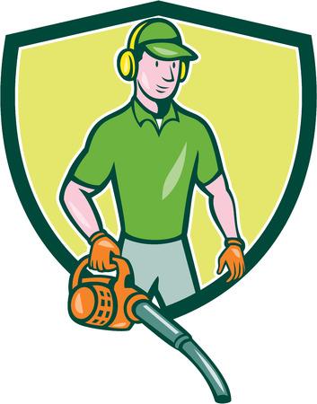 muffs: Illustrazione di stile del fumetto di maschio giardiniere paesaggista in piedi in possesso di foglia soffiatore impostato all'interno scudo stemma sullo sfondo isolato. Vettoriali