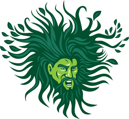 Illustration of a Green Man head face with flowing hair and leaves growing at tips viewed from front don ein cartoon style.