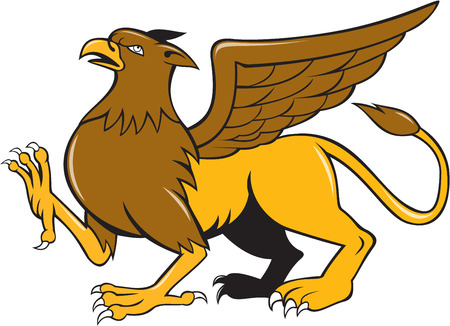 griffon: Illustration of a griffin, griffon, or gryphon marching prancing viewed from side set on isolated white background done in cartoon style.