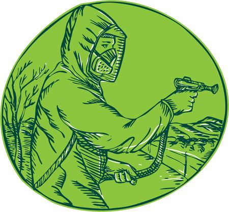 pesticida: Grabado ilustraci�n Aguafuerte estilo artesanal de exterminador de control herbicida pesticida rociado visto desde el lado dentro del c�rculo en el fondo aislado.