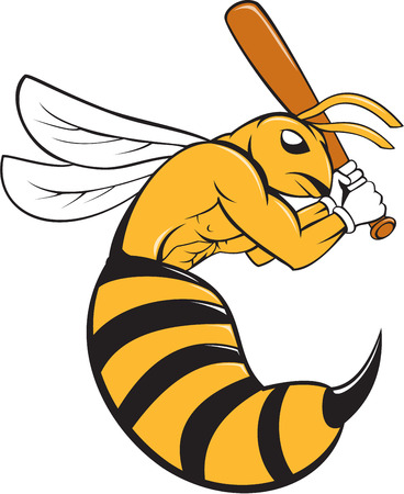 batting: Cartoon style illustration of a kiiller bee baseball player holding bat batting viewed from the side set on isolated background.