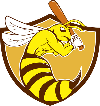batting: Cartoon style illustration of a kiiller bee baseball player holding bat batting viewed from the side set inside crest on isolated background.