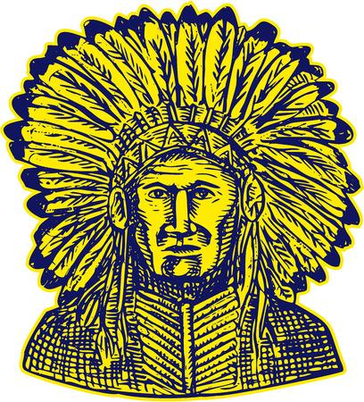 chieftain: Acquaforte illustrazione incisione stile artigianale di un nativo americano indiano capo guerriero visto dal set anteriore isolato su sfondo bianco.