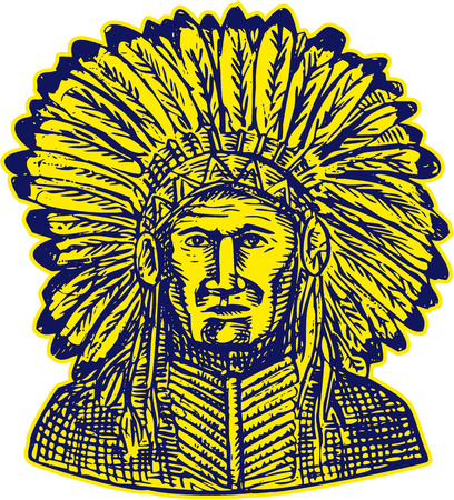 native american indian chief: Etching engraving handmade style illustration of a native american indian chief warrior viewed from front set on isolated white background. Illustration