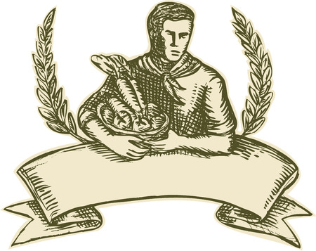 Etching engraving handmade style illustration of male organic farmer gardener horticulturist with basket full of crop harvest, fruits and vegetables with olive leaves branches in the background and scroll in the foreground set on isolated white background Vector