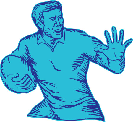 fend: Acquaforte illustrazione incisione stile artigianale di una palla da giocatore di rugby in possesso di esecuzione carica difendersi impostato su sfondo bianco.
