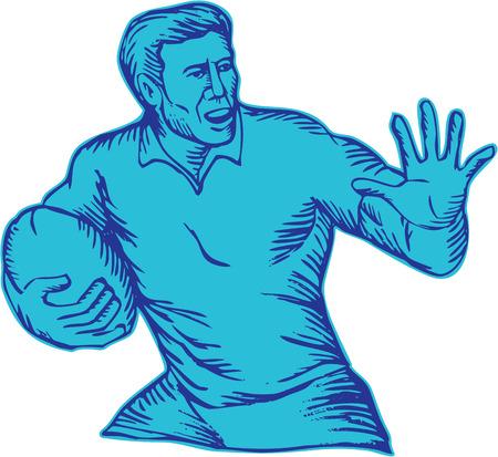 L'incisione che incide l'illustrazione fatta a mano di stile di un fending di carico funzionante della palla della tenuta del giocatore di rugby ha messo su fondo bianco isolato.