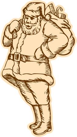 saint nicholas: Grabado grabado ilustraci�n de estilo artesanal de bolsa de transporte bolsa con regalos regalos en el hombro establecidos en el fondo blanco aislado de santa claus santo nicholas padre de pie navidad. Vectores