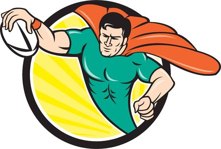 scoring: Cartoon style illustration of a superhero rugby player with ball scoring try set inside circle with sunburst in background. Illustration