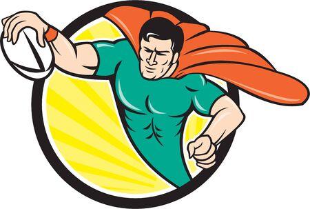 essayer: style de bande dessin�e illustration d'un joueur de rugby de super-h�ros avec le ballon notation essayez r�gl� l'int�rieur du cercle, sunburst, fond.