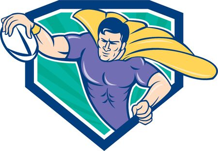 scoring: Cartoon style illustration of a superhero rugby player with ball scoring try set inside shield crest with sunburst in background.