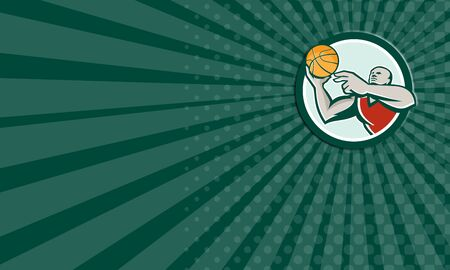 layup: Business card showing illustration of a basketball player lay up ball set inside circle on isolated background done in retro style.