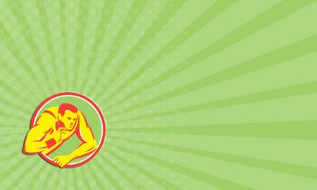 lancio del peso: Biglietto da visita che mostra illustrazione di una pista e campo colpo messo atleta pronto a gettare palla trova all'interno cerchio su sfondo isolato fatto in stile retr�.