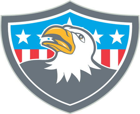looking up: Illustration of an american bald eagle head looking up viewed from the side with american stars and stripes flag in the background set inside shield crest done in cartoon style.