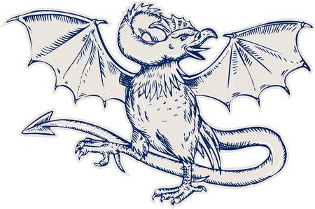 rumsteak: Gravure illustration de style de main de gravure d'un basilic, la t�te de coq, des ailes de chauve-souris et avec un croupion comme un serpent qui se termine dans une arrowpoint sur fond isol�.