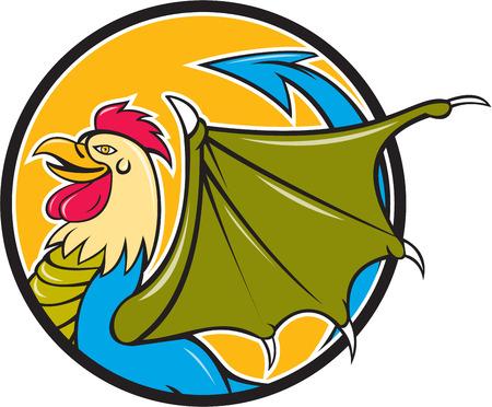 rumsteak: Illustration d'un basilic, un animal avec la t�te, le torse et les jambes d'un coq, la langue d'un serpent, les ailes d'une chauve-souris et avec un croupion comme un serpent qui se termine dans une arrowpoint fait dans le style de bande dessin�e vus de c�t�, ensemble, int�rieur forme de cercle sur isol� b