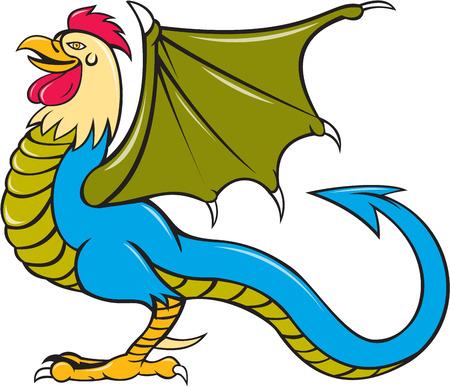 rumsteak: Illustration d'un comit� permanent de basilic, un animal avec la t�te, le torse et les jambes d'un coq, la langue d'un serpent, les ailes d'une chauve-souris et avec un croupion comme un serpent qui se termine dans une arrowpoint fait dans le style de bande dessin�e vu de jeu de c�t� sur isol� backgro blanc