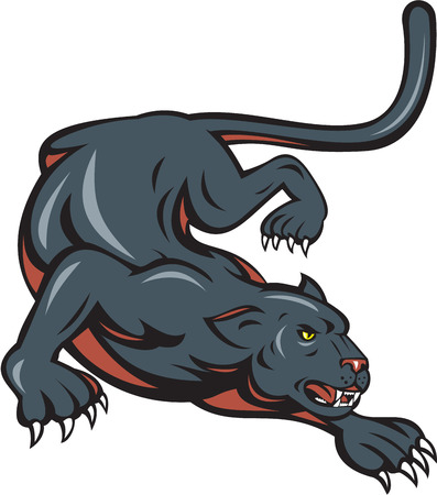 Cartoon style illustration of black panther big cat crouching set on isolated white background.
