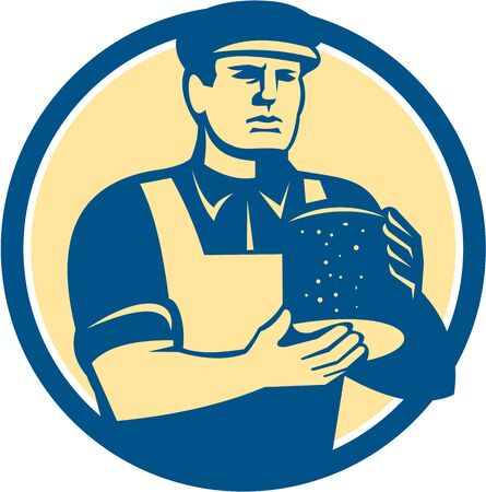 tradesman: Illustration of a cheesemaker cheesecutter with hat standing holding cheese block facing front set inside circle on isolated background done in retro style.