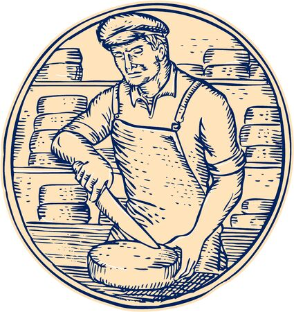 cheese: Etching engraving handmade style illustration of a cheesemaker standing holding knife cutting cheddar cheese block set inside circle with cheese blocks in the background. Illustration