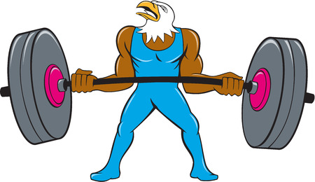 weightlifter: Cartoon style illustration of a bald eagle weightlifter lifting barbell looking to the side set on isolated white background.