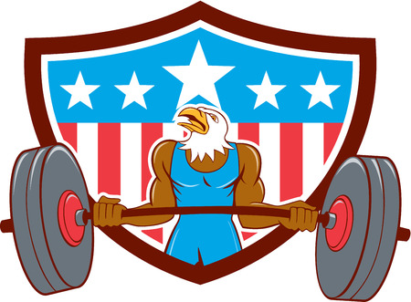 Illustration of a bald eagle weightlifter lifting barbell looking to the side set inside shield with american stars and stripes in the background done in cartoon style. Ilustração