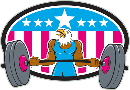 weightlifter: Illustration of a bald eagle weightlifter lifting barbell looking to the side set inside oval with american stars and stripes in the background done in cartoon style. Illustration