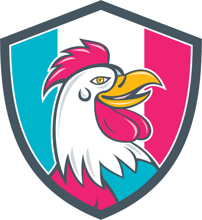 french flag: Illustration of a french rooster chicken head smiling viewed from the side set inside shield crest with france flag stripes in the background done in cartoon style.