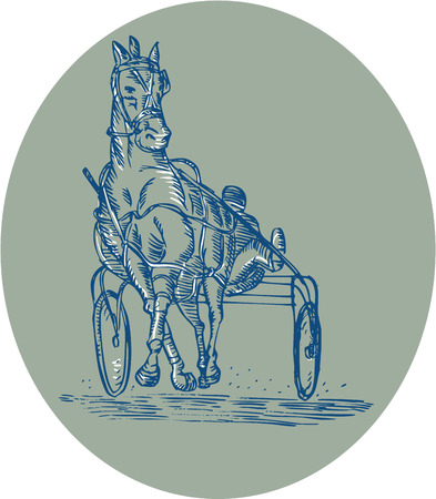 trotting: Etching engraving handmade style illustration of a horse and jockey harness racing facing front set inside oval on isolated background.