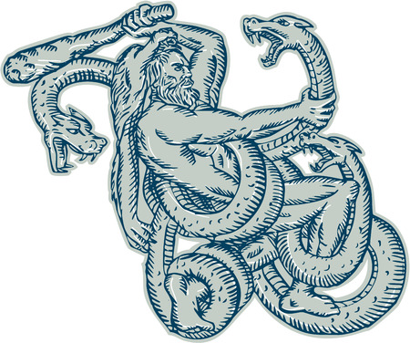 mythology: Etching engraving handmade style illustration of Hercules or Heracles of Greek mythology wearing a lion skin head fighting a Lernaean Hydra or three headed serpent on isolated white background.