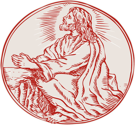 agony: Etching engraving handmade style illustration of Jesus Christ agony in the garden looking up viewed from the side set inside circle.