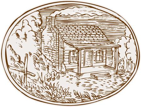 Gravure illustration de style de main de gravure d'une maison de ferme en bois rond avec de la fumée sortant de la cheminée située au sein forme ovale avec des arbres et des plantes dans l'arrière-plan.