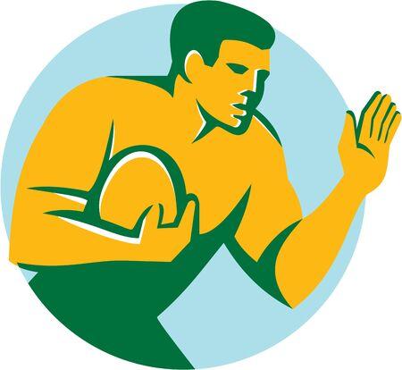 fend: Illustrazione del giocatore di rugby con la palla mano difendersi out impostato all'interno cerchio su sfondo isolato fatto in stile retr�. Vettoriali