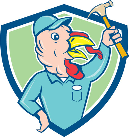 clutching: Illustration of a wild turkey builder holding clutching hammer looking to the side set inside shield crest done in cartoon style on isolated background. Illustration