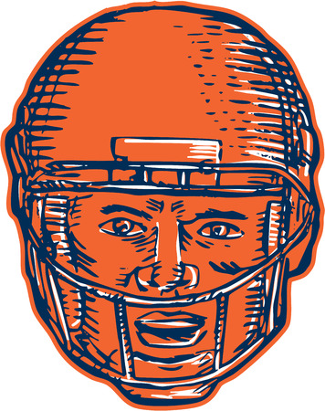 woodblock: Etching engraving handmade style illustration of an american football player head with helmet facing front set on isolated white background. Illustration
