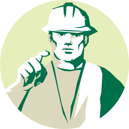 front facing: Stencil style illustration of a builder construction worker pointing finger facing front set inside circle on isolated background.