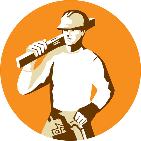 spirit level: Stencil style illustration of a builder construction worker with toolbelt carrying spirit level on shoulder set inside circle on isolated background.