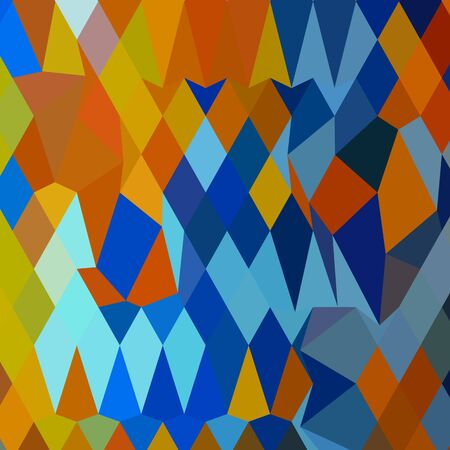 cerulean: Low polygon style illustration of cerulean blue harvest gold abstract geometric background.