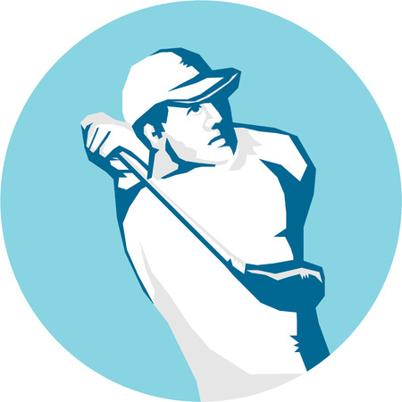 golfer swinging: Stencil style illustration of a golfer playing golf swinging club teeing off set inside circle on isolated background.