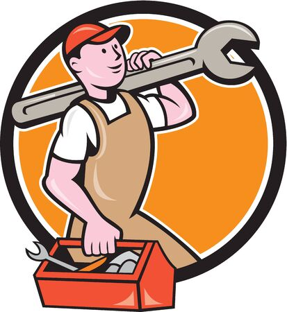tradesman: Illustration of a mechanic in overalls and hat holding spanner wrench on shoulder and carrying toolbox facing side set inside circle on isolated background done in cartoon style.
