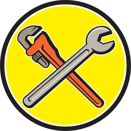 monkey wrench: Illustration of a plumbers monkey wrench and mechanics spanner crossed set inside circle on isolated background done in cartoon style.
