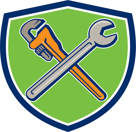 monkey wrench: Illustration of a plumbers monkey wrench and mechanics spanner crossed set inside crest shield on isolated background done in cartoon style. Illustration